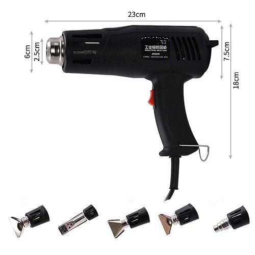 220v 2000w Electric Heat Gun Heat Gun 150-550 Work Temperature Adjustable Nozzle Car Film Bake Dry Remove Paint Thaw Food