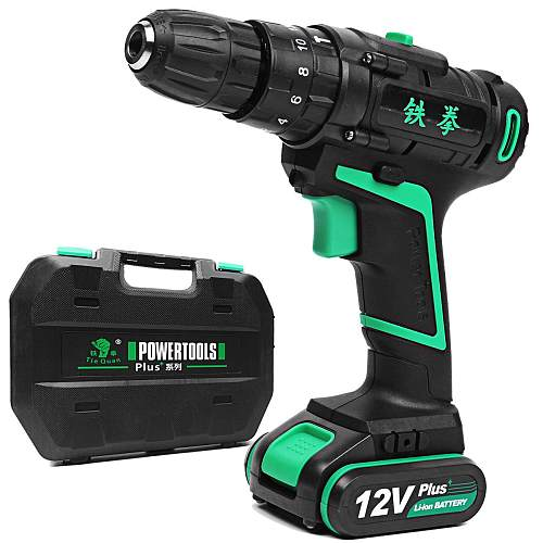 12V 1.5Ah Li-ion Battery Cordless Electric Hammer Rechargable Power Drills Two Speed Power Screwdriver