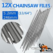 12PCS 5.2mm 13/64  Chainsaw Round Files Sharpening Files Sharpener for 3/8  Chain Wood Working