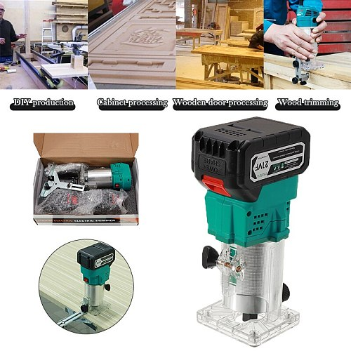21V 850W Wireless Electric Hand Trimmer Brushless Router Wood Carving Machine Milling Machine Wood Grinding Slotting Woodworking