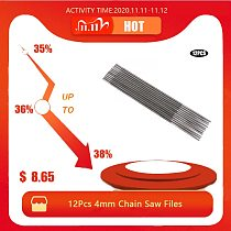 12Pcs 4mm Chain Saw Files Round Chainsaw Sharpening Files Woodworking Chain Saw File 5/32in for Wood Cutting Machine