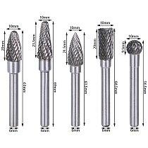 5Pcs 6x10mm Tungsten Carbide Twist Drill Bit Cutter Metal Grinder Burr Set Double Cutter For Dremel Rotary Tool