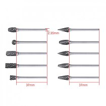10pcs / lot 2.35 x 6mm Professional Carbide Rotary File Tungsten with Plastic Box for Polished / Carved / Polishing