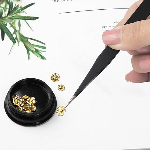 6pc 1cm Tweezers Straight Elbow Flat ESD Anti-static Tweezers Beauty Nail For DIY Tweezers Jewelry Making