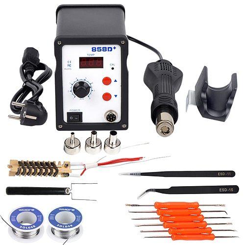 WMORE Hot air gun 858D 700W BGA Welding rework solder station SMD soldering LED Digital station 220V 110V solder repair tool kit