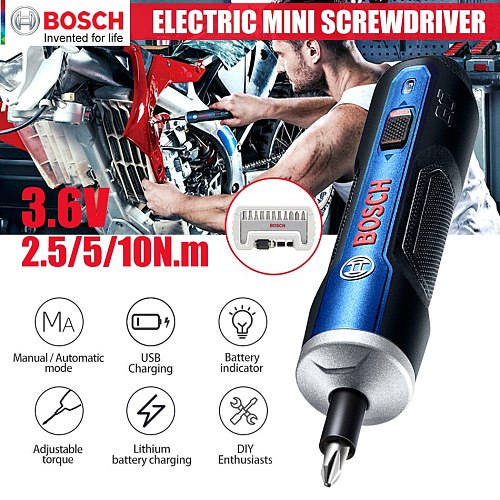 Brand Original BOSCH GO Mini Electric Screwdriver 3.6V lithium-ion Battery Rechargeable Cordless Power Drill with drill bits kit