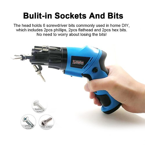 X-power 6 in 1 Build-in Bits Mini Electric Screwdriver Set 6V Dry Cell Battery LED Light Rotary Handle With 15pcs Bit For DIY