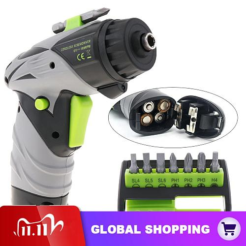 Cordless Mini Electric Screwdriver Drill Battery Powered Electric Screw Driver Set with LED Light and 7 Bits