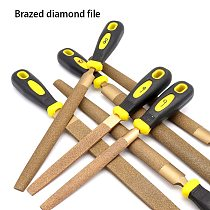 1pcs 6/8/10/12/14 inches Welded diamond file flat/semi-circular file for metal and other items grinding woodworking hand tools