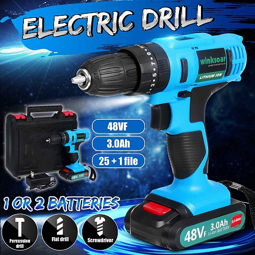 48VCordless Drill Hammer Impact Electric Screwdriver Mini Hand Drill High Torque Rechargeable Li-ion Battery for Wood Metal