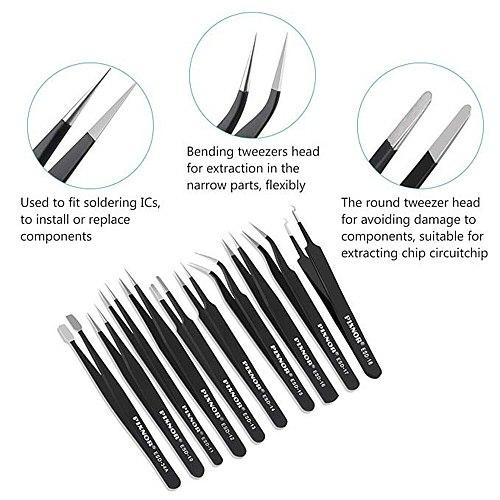 10Pcs ESD Anti-Static Stainless Steel Tweezers Set Maintenance Repair Tool Kit Anti Static Model Making Tool Hand Tool Set