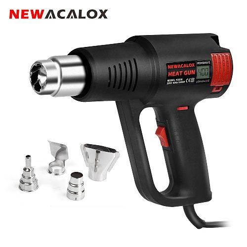 NEWACALOX EU/US 1500W Industrial Electric LCD Hot Air Gun Stepless Thermoregulator Heat Gun Plastic Torch Car Hair Dryer Tools