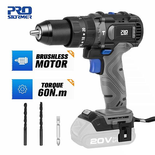 20V Brushless Hammer Drill 60NM Impact Cordless Electric Screwdriver Steel Wood Masonry Power Bare Tools By PROSTORMER