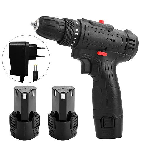 12V 18V 21V Impact Cordless Screwdriver Electric Hand Drill Battery Rechargeable Electric Screwdriver Household Power Tools DIY