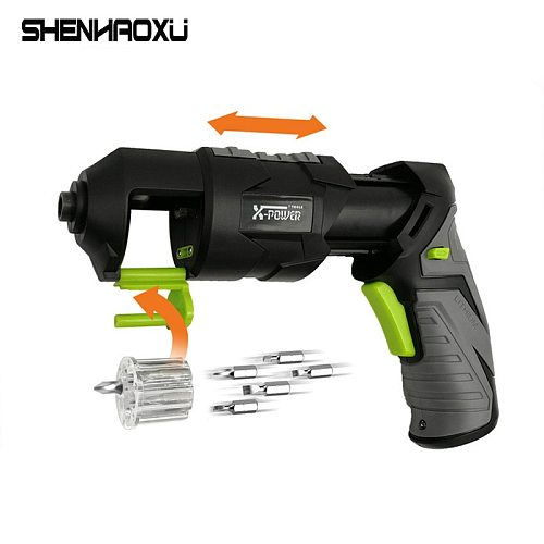 Cordless Electric Screwdriver 3.6V Rechargeable Lithium Battery Deformable With LED Lighting And Head For Home DIY For 7 PCS