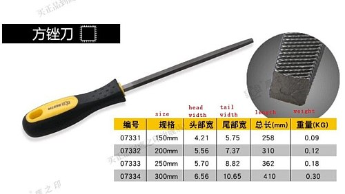BESTIR taiwan made excellent quality T12 special steel 150MM 200MM 250MM 300MM rasp square file double soft rubber handle