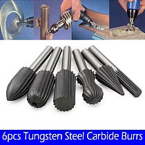 6PCS Carbide Burrs Tungsten Carbide 12mm Rotary Point Burr For Finishing Metal Rotary Drill Bit Grinder Rotary File Cutter Tools