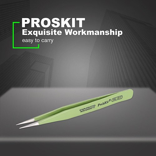 Proskit 1PK-101T 120mm Insulated Tweezer Non-magnetic Anti-static Round Cuspid Straight Tweezer For Soldering Station