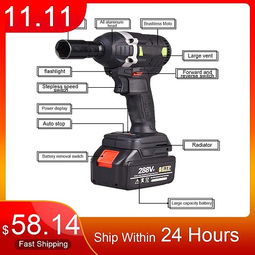 30N.m 288VF 19800mAh Cordless Electric Wrench Impact Driver Socket Wrench Lithium Battery Hand Drill Installation Power Tools
