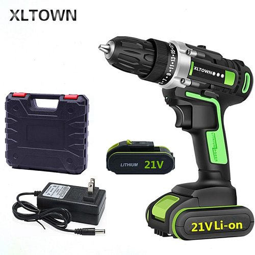 XLTOWN 16.8/21V Cordless Drill With 2 battery  Multi-function Lithium Battery Rechargeable Electric Screwdriver Power tools
