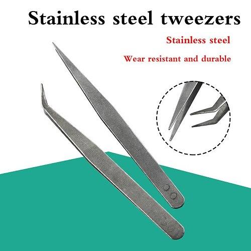 1PCS Stainless Steel Sharp Tweezers Maintenance Tools Industrial Precision Curved Straight Tweezers Phone Computer Repair Tools