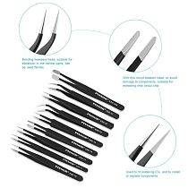 9pcs Premium Anti-Static ESD Stainless Steel Tweezers Set With Case For Electronics / Jewelry-Making / Laboratory Work / Hobbies