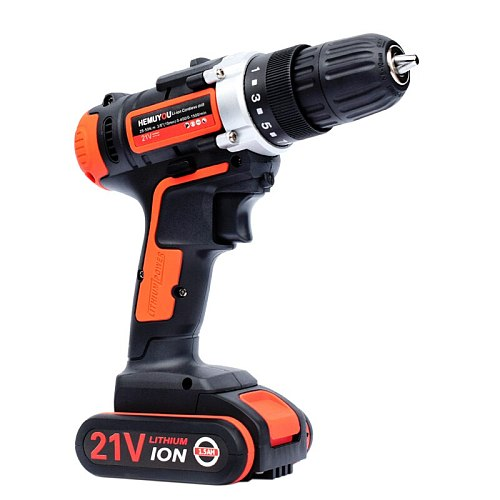21V Electric Screwdriver Cordless Drill Wireless Power Driver DC Lithium Ion Battery 3 / 8 inch 2 Speed  Smart Battery Display