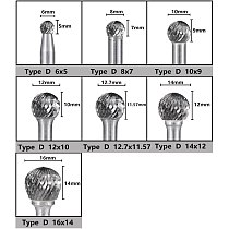CMCP Type D Carbide  Rotary Files 6mm Shank Double Cut Rotary Cutter File Engraving Bit For Dremel Rotary Tool
