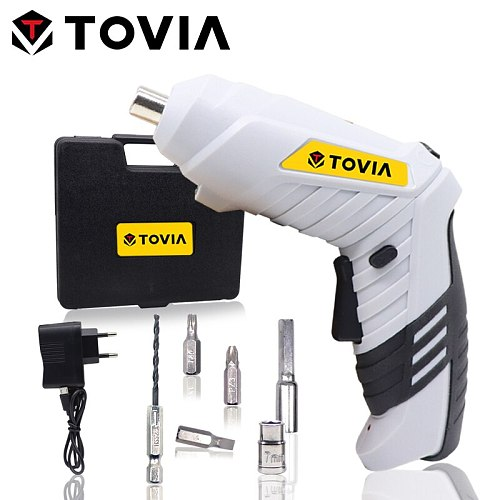 TOVIA 3.6V Electric Hand Screwdriver USB Cordless Screwdriver Lithium Foldable Screwdriver Battery with LED Light
