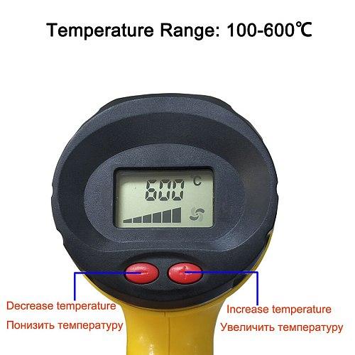 2000W 858A 886 industrial hot air gun LCD display car film drying shrink electric heating adjustable temperature hot air gun
