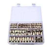 Free Shipping 100PCS Rivet Nuts Flat Head Rivet Nuts Set M3-M12 Nuts Insert Reveting Multi Size Collocation with Box
