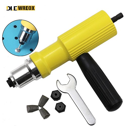 Electric Rivet Nut Gun Riveting Tool Cordless Riveting Drill Adaptor Insert Nut Tool Riveting Drill Adapter 2.4mm-4.8mm