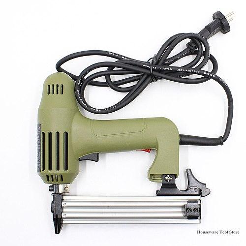 220V Electric Nails Staple Gun Straight Nail Gun Framing Tacker Power Tools Stapler Gun for Furniture 5/10/15/20/25/30mm Nails