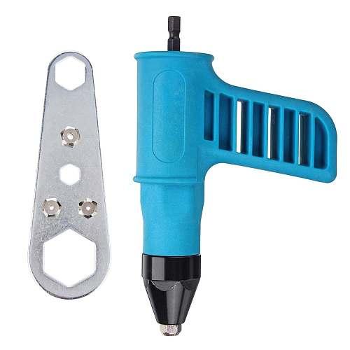 Drillpro Cordless Riveter Nail Gu n Electric Drill Tools Kit Riveter Adapter Insert Nut +Wrench +Convertible Nozzles