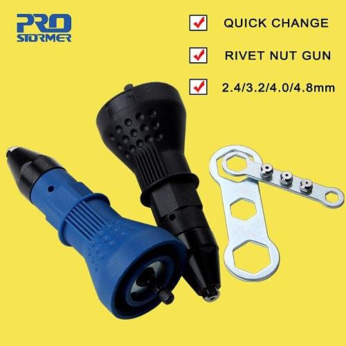 PROSTORMER Rivet Nut Gun Adapter Electric Cordless Riveting Drill Adaptor Insert Nut Tool 2.4mm-4.8mm Accessories