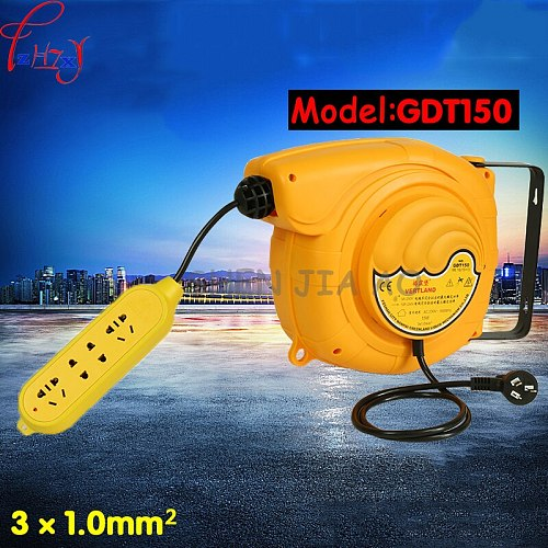 1PC GDT-150 Automatic telescopic drum cable tray 220V plug board board line 15 meters electric automatic hose reel