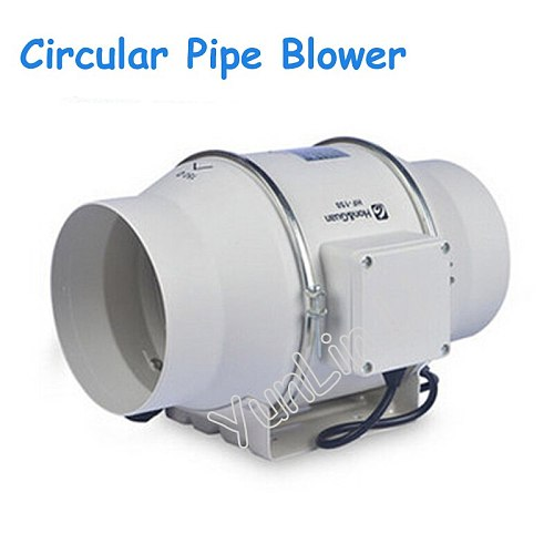 220V Circular Pipe Blower Inclined Flow Turbo-charged Pipe Fan 6 Inch Strong Ventilation Exhaust Fan HF-150P