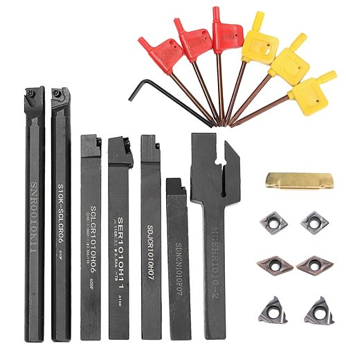 21Pcs/Set Indexable Turning Tool Set with 10Mm Shank Lathe Turning Tool Holder Boring Bar + Dcmt Ccmt Insert + Wrench