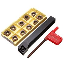 SCLCR1212H09 Holder Lathe Tool Cutter With 10pcs CCMT09T304-PM Blades Insert CNC 100mm