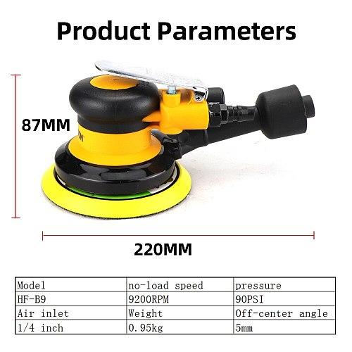 Pneumatic Sander Polisher with Vacuuming 5'' 125mm Car Paint Care Tool Polish Random Orbital Palm Machine Grinder M8 Threaded
