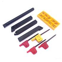 10pcs DCMT070204 Blades Carbide Inserts + 4pcs 12mm 10mm Straight Shank Boring Bar CNC Lathe Turning Tool Holder + 4pcs Wrenches