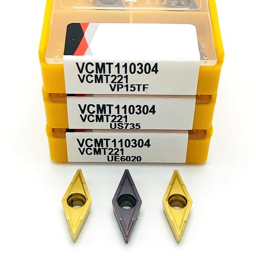 VCMT110304 VP15TF UE6020 US735 CNC steel stainless steel tungsten carbide turning tool VCMT 110304 cemented carbide blade