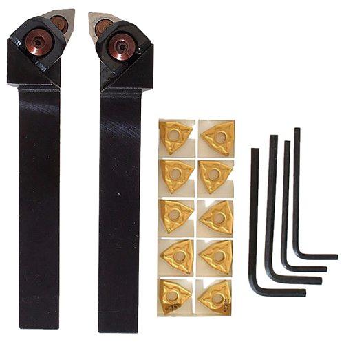 SHGO HOT-WWLNR1616H/K08+WWLNL1616H/K08 Lathe Turning Tool Holder Kits With10 WNMG080404 Blades