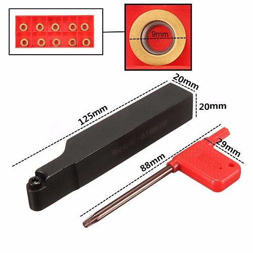 SRAPR2020K10 Face Milling External Lathe Blade Turning Tool Holder Boring Bar + 10Pcs RPMT10TO Inserts + Wrench