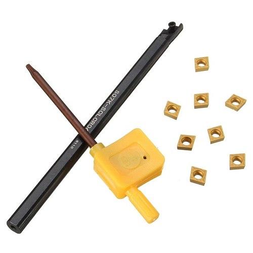 XNEMON 1set S07K-SCLCR06 Lathe Turning Tool Boring Bar Holder + 8Pcs CCMT0602 Inserts + Wrench  7x125MM