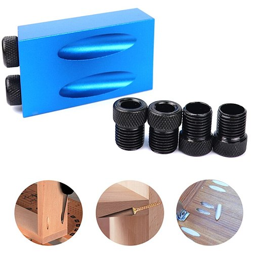 Promotion! Woodworking Pocket Hole Jig Kit 6/8/10Mm Angle Drill Guide Set Hole Puncher Locator Jig Drill Bit Set For Diy Carpent
