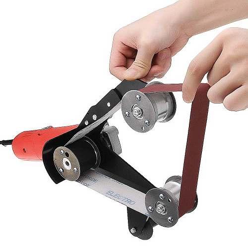 Grinder Pipe & Tube Belt Sander Attachment Stainless Steel Metal Wood Sanding Belt Adapter for M10 Spindle Angle Grinder