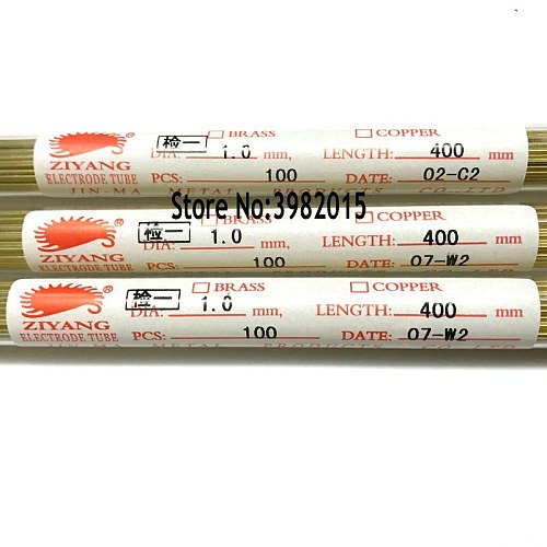 Drilling Brass Electrode Tube OD1.0*400mm Length Single Hole for EDM Drilling Machine