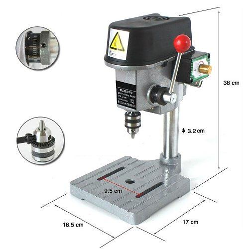 340W High Speed Mini DIY Drill Press Bench 220V Rotary Tools 16000rpm 22mm Stroke Clamping 0.6-6.5mm Wood Metal Plastic Drilling