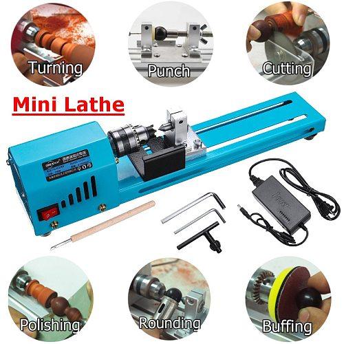 150W 12V-24V cnc Mini Beads Machine Miniature Lathe DIY Woodworking Lathe  Grinding Polishing Beads Drill Rotary Tool Set